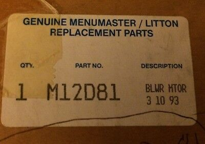 New Genuine Menumaster Litton M12d81 Commercial Microwave Blower Motor
