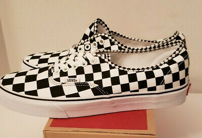 Vans Black and White Mix Checker Lace-up Low top Canvas Mens