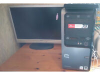 Compaq PC with monitor and keyboard