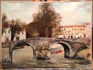 Pont du village PAYSAGE CÔTE D'AZUR HUILE SUR TOILE SIGNÉE