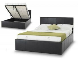 BLACK BROWN OR WHITE- NEW DOUBLE/KING STORAGE BED GAS LIFT LEATHER BEDS THICK MEMORY FOAM MATTRESS