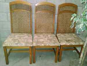 Six wood with wicker dinning chairs
