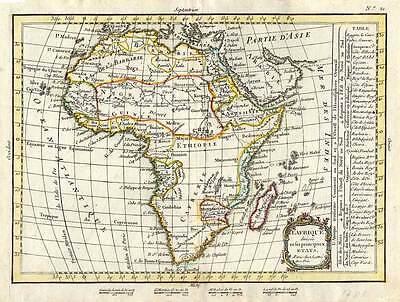 Africa - Afrika altkolorierte - Kupferkarte LATTRE 1783