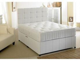 SAME DAY DELIVERY - BRAND NEW DOUBLE OR KING DIVAN BED BASE WITH DEEP QUILT MATTRESS