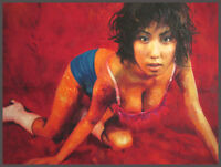 Asian Pin-up Girl, oil painting, realist fantasy, woman