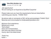 Looking for a carpenter