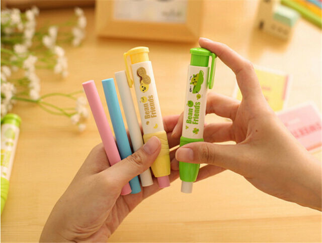 Cute Students Pen Shape Click Eraser Rubber Holder Stationery Kid Gift Toy