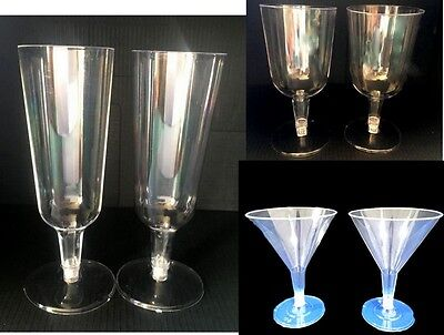 12x Plastic Drinking Glasses Party Clear Disposable Wine Champagne Martini  - Plastic Party Glassware