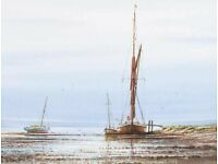 WATERCOLOUR - FISHING BOATS - BY ALAN WHITEHEAD