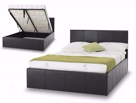 STYLISH 4ft6 Double Leather Storage Ottoman Bed Frame, Gas Lift-Up with Mattress-SINGLE & KING SIZE