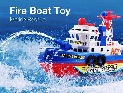 Electric Fire Boat Baby Bath Toys LED Flashing Light Music Kids Watercraft Gift