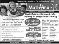 Tutoring $8-15 ONLY @ Math4me for KG to Grade 12 (Richmond)