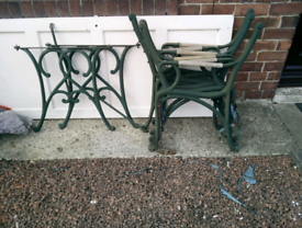 3x cast iron bench ends +1x table legs