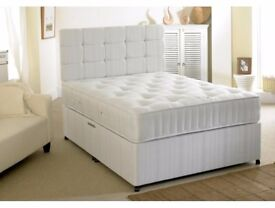 BRAND NEW KINGSIZE DIVAN BED BASE WITH DEEP QUILT, ORTHOPEDIC, MEMORY FOAM AND OTHER MATTRESS