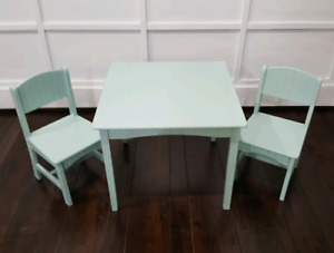 Vintage wooden children's tables with 2 chairs.