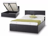 BRAND NEW 4FT6 OR 4FT DOUBLE OTTOMAN LEATHER STORAGE DOUBLE BED WITH ORTHOPEDIC MATTRESS