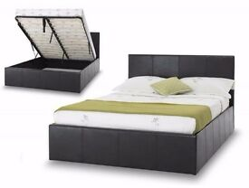FREE DELIVERY /// SMALL DOUBLE / DOUBLE FAUX LEATHER OTTOMAN STORAGE BED FRAME BLACK OR BROWN