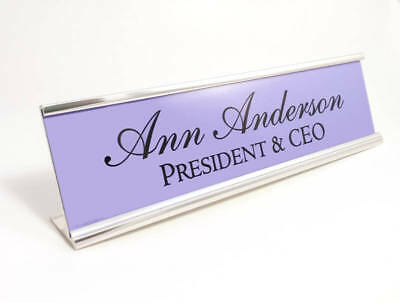 Desk Name Plate Gloss Purple Insert With Silver Color Aluminum Holder 2x8