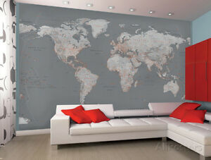 World map wallpaper ebay contemporary grey world map wallpaper mural sticker 124x915 sciox Images