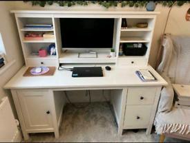 White ikea computer desk And topper