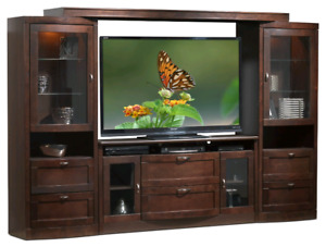Black Wall unit with electric fireplace insert for sale