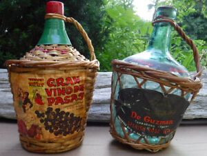 VINTAGE WICKER WRAPPED WINE BOTTLES SPAIN