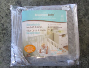 Breathable Mesh Crib Liners (non-padded Bumpers), Light Gray