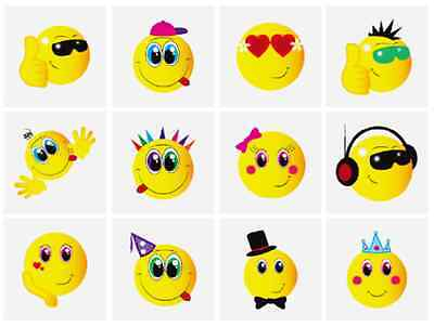 144 X Kinder Jungen Smile Gesicht Temporäre Tattoos N51 043 ()