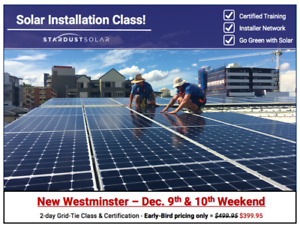 Solar installation class w/ certification - Weekend Dec. 9-10th