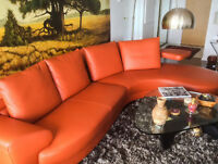 EXCEPTIONAL ITALIAN FULL LEATHER CURVED SECTIONAL SOFA