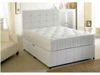 SAME DAY FAST DELIVERY! DOUBLE / SMALL DOUBLE DIVAN BASE WITH WHITE ORTHOPEDIC MATTRESS --