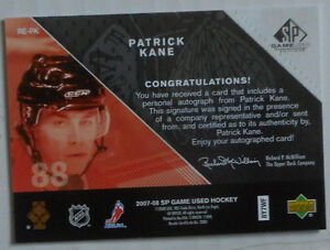 Patrick Kane ,2007-08 ,SP Game Used,Rookie Exclusives Autographs Gatineau Ottawa / Gatineau Area image 2