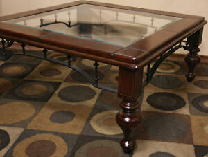 Super SQUARE  Glass, Leather, Iron & Wood Coffee Table SEE VIDEO
