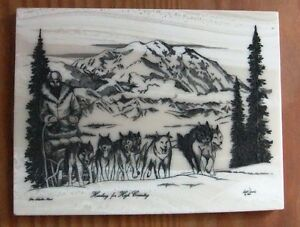 Dog sledding Picture on tile