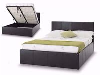 【GAS LIFT UP BED】SINGLE/ DOUBLE/ KING OTTOMAN STORAGE LEATHER BED BLACK BROWN WHITE WITH MATTRESS