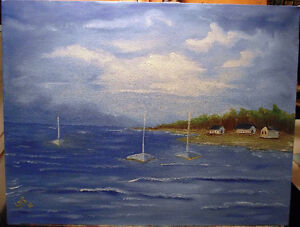 """Sailor's Cove"" - Original Oil Painting 16"" x 12"" London Ontario image 4"