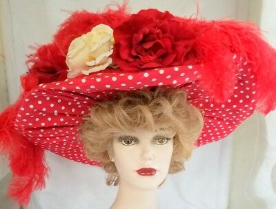 Red Hat with Polka Dots Ostrich Feathers Faux Roses - Fake Ostrich Feathers