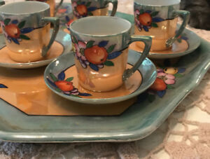 Japanese hand painted delicate tea set with tray.