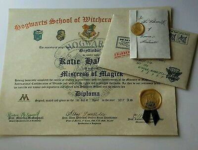 Hogwarts Harry Potter Inspired Custom Diploma and Letter