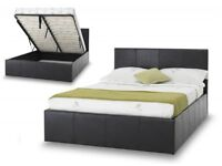 **GAS LIFT HYDROLIC SYSTEM** NEW DOUBLE LEATHER STORAGE BED FRAME WITH SEMI ORTHOPEDIC MATTRESS