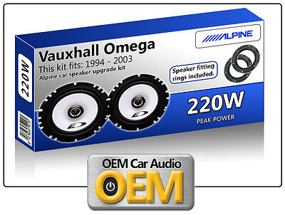 Vauxhall Omega Rear Door speakers Alpine car speaker kit with Adapter Pods 220W