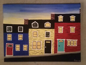 Original painting on canvas of row houses in St. John's