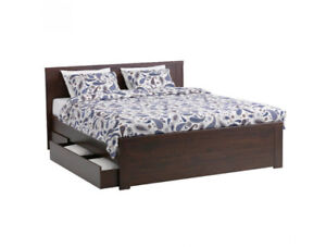 Queen Bed Frame with Drawers - IKEA Brusali - Brown
