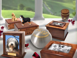 Pet Urns-Dog Figurines/Brass & Wooden Urns Save 70%
