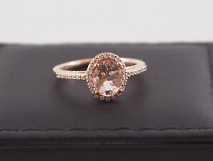 Beautiful 14kt Rose Gold Halo, with 1ct Morganite & Diamonds