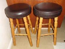 AS NEW-2 BLACK TOP BAR STOOLS - TIMBER LEGS Russell Lea Canada Bay Area Preview