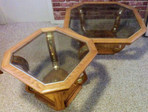 Coffee and side tables - Oak, glass and brass