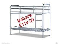 WOODEN OR SILVER BUNK BED AND MATTRESS
