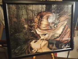 Large Goth vampire kiss picture.