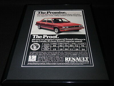 1986 Renault Alliance 11x14 Framed ORIGINAL Vintage Advertisement  segunda mano  Embacar hacia Mexico